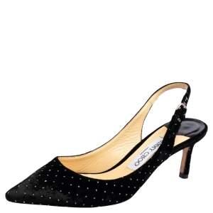 Jimmy Choo Black Velvet Erin Slingback Sandals Size 37