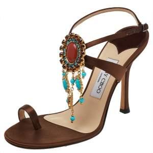 Jimmy Choo Brown Satin Embellished Ankle Strap Sandals Size 38.5