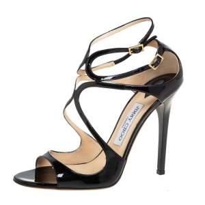Jimmy Choo Black Patent Leather Ivette Ankle Strap Sandals Size 38.5
