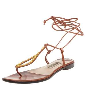 Jimmy Choo Brown Leather Gladiator Ankle Wrap Flats Size 37