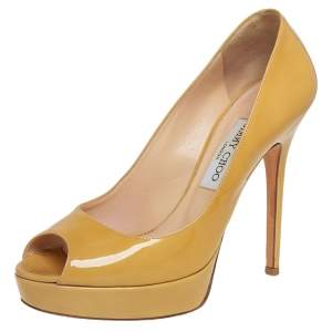 Jimmy Choo Yellow Patent Leather Peep Toe Platform Pumps Size 39.5