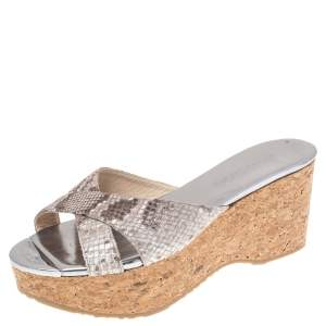 Jimmy Choo Grey Python Embossed Leather Wedge Sandals Size 37.5