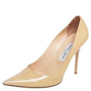 Jimmy Choo Beige Patent Leather Romy  Pumps Size 39