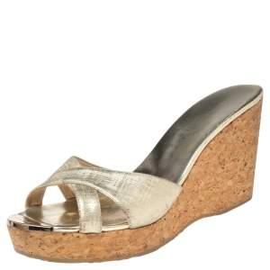 Jimmy Choo Gold Textured Leather Platform Wedge Slide Sandals Size 41.5