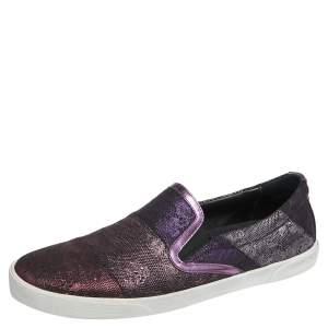 Jimmy Choo Metallic Purple Lace Demi Slip On Sneakers Size 40