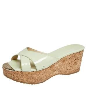 Jimmy Choo Light Green Patent Leather Panna Cork Platform Sandals Size 41