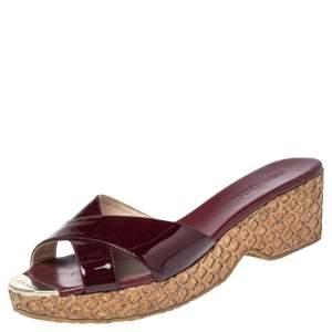 Jimmy Choo Dark Red Patent Leather Panna Cork Slides Size 41