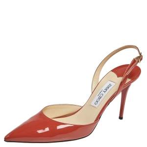Jimmy Choo Clay Red Patent Leather Tilly Slingback Sandals Size 41