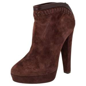 Jimmy Choo Burgundy Suede Back Zipper Ankle  Boots Size 37