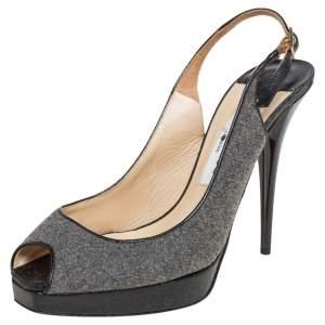 Jimmy Choo Grey Wool Blend Peep Toe Slingback Sandals Size 37
