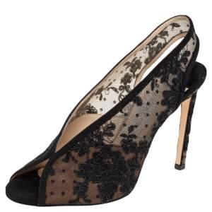 Jimmy Choo Black Lace And Net Slingback Sandals Size 39