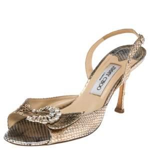 Jimmy Choo Gold Python Leather Crystal Buckle Embellished Sandals Size 38.5