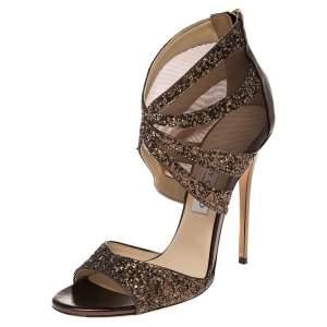 Jimmy Choo Metallic Gold Glitter And Net Sandals Size 39.5