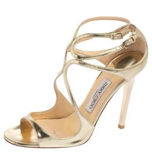 Jimmy Choo Metallic Gold Leather Lance Strappy Sandals Size 39