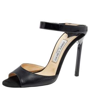 Jimmy Choo Black Leather Ankle Strap Sandals Size 37