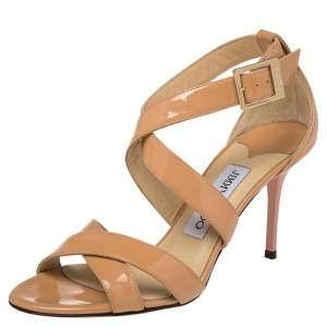 Jimmy Choo Beige  Patent Leather Vamp Strappy Sandals Size 36.5