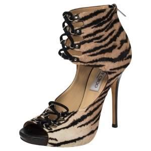 Jimmy Choo Black/Beige Calf Hair Zebra Print Lace Up Sandals Size 38.5