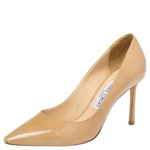 Jimmy Choo  Beige Patent Leather Romy  Pumps Size 37.5