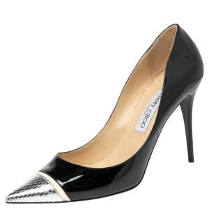 Jimmy Choo Black/Silver Patent Leather and Snakeskin Embossed Bahama Pumps Size 40