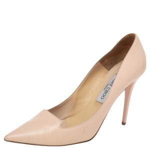 Jimmy Choo Beige Leather Avril Pointed Toe Pumps Size 39