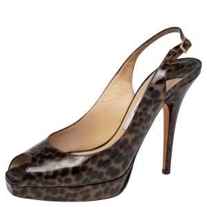 Jimmy Choo Black/Beige Leopard Print Patent Leather Platform Slingback Sandals Size 37