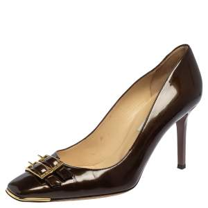 Jimmy Choo Brown Patent Leather Double Buckle Toe Pumps Size 39