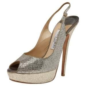 Jimmy Choo Glitter Slingback Sandals Size 38