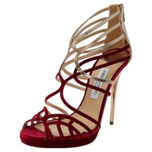 Jimmy Choo Red/Gold Velvet And Leather Maury Strappy Sandals Size 40