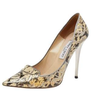Jimmy Choo Brown/Beige Python Embossed Leather Pumps Size 39