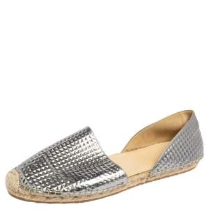 Jimmy Choo Silver Textured Leather Dreya D'Orsay Espadrille Flats Size 40