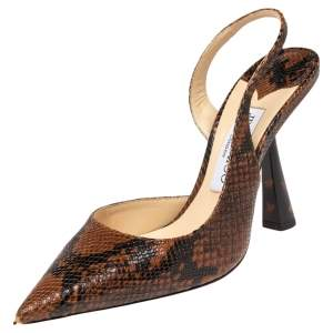 Jimmy Choo Brown Python Embossed Leather Pointed Toe Slingback Sandals Size 36