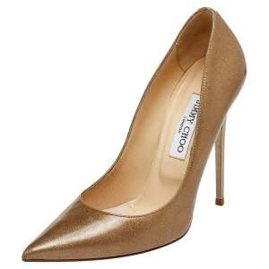 Jimmy Choo Gold Glitter And Patent Leather Anouk Pointed Toe Pumps Size 39