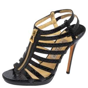 Jimmy Choo Black Python Leather Glenys Gladiator Platform Sandals Size 39