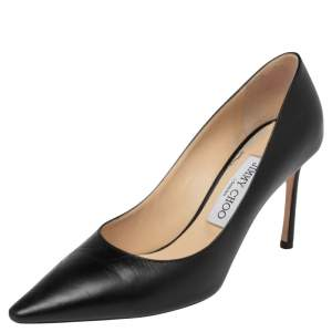Jimmy Choo Black  Leather Romy Pointed Toe Pumps Size 37