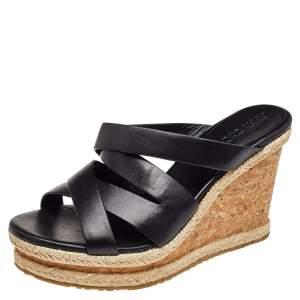 Jimmy Choo Black Leather Wedge Sandals 39