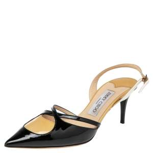 Jimmy Choo Black/Beige Patent Leather Pointed Toe Slingback Sandals Size 37.5
