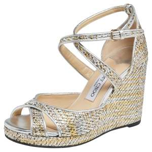 Jimmy Choo Multicolor  Woven  Alanah Wedge Ankle Strap Sandals Size 38
