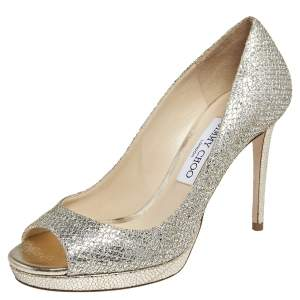 Jimmy Choo Gold/Silver Coarse Glitter Luna Pumps Size 38