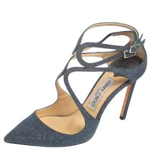 Jimmy Choo Blue Glitter Lancer Sandals Size 37