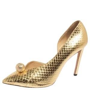 Jimmy Choo Gold Snakeskin Sadira Pointed Toe Pumps Size 39