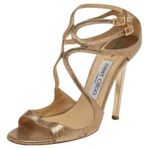 Jimmy Choo Metallic Gold Leather Lance Strappy Sandals Size 36.5