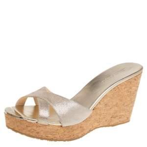 Jimmy Choo Shimmery Gold Suede Pandora Cork Wedges Slide Sandals Size 42