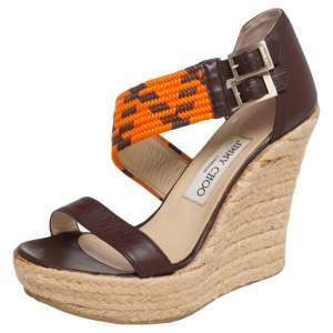 Jimmy Choo Dark Brown Leather and Cord Woven Cross Strap Espadrille Wedge Sandals Size 37