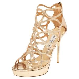Jimmy Choo Gold Glitter Cage Sandals Size 37.5