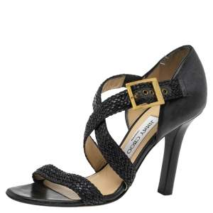Jimmy Choo Black  Leather Strappy Ankle Strap Sandals Size 37
