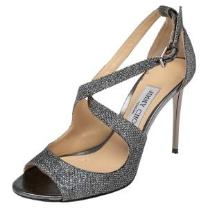 Jimmy Choo Silver Shimmery Lame Fabric Strappy Sandals Size 37