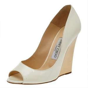 Jimmy Choo White Patent Leather Peep Toe Wedge Pumps Size 37
