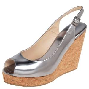 Jimmy Choo Silver Leather Cork Wedge Ankle Strap Sandals Size 38