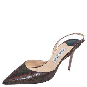 Jimmy Choo Multicolor Shimmery Suede Pointed Toe Slingback Sandals Size 40