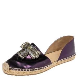 Jimmy Choo Metallic Purple Leather Crystal Embellished D'orsay Espadrille Flats Size 36